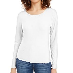 Hippie Rose White Ribbed Long Sleeve Top